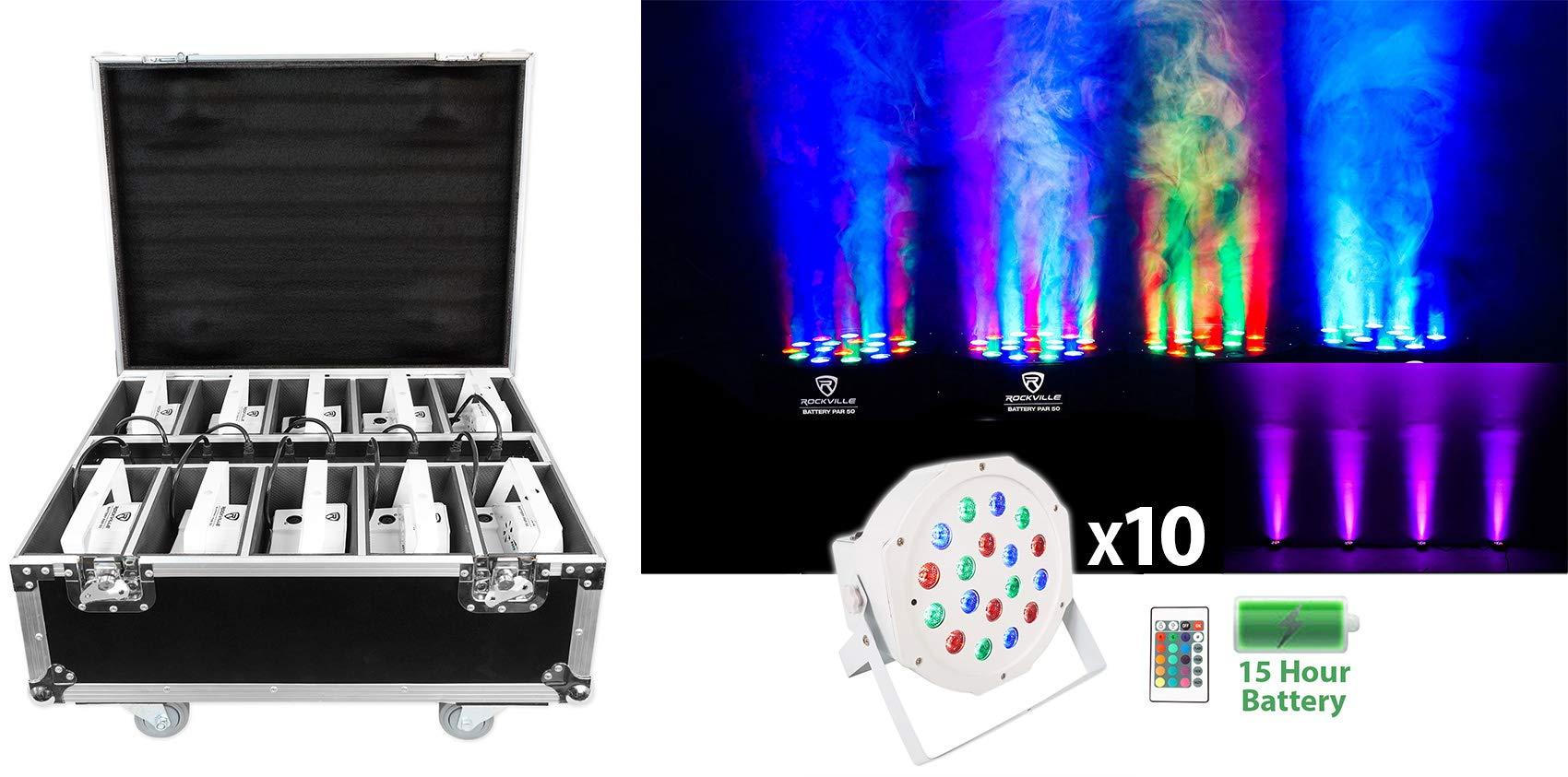 Rockville BATTERY PAR PACK 50 WHITE (10) Rechargeable Wash Lights+Charging Case