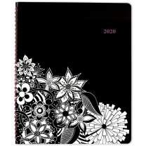 """2020 Planner, Cambridge Weekly & Monthly Planner, 8-1/2"""" x 11"""", Large, FloraDoodle, Black and White (589-905), Model:589-905-20"""