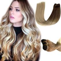 Sew in Hair Weft Human Hair Extensions Brown to Blonde 2 Tones Real Hair Extensions for Women Weave Hair Human Bundles Brazilian Straight Remy Human Hair Weave Extensions 1 Pieces 80 Gram 12 Inch