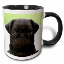 3dRose Pug Puppy Two Tone Black Mug, 11 oz, Multicolor