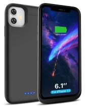LCLEBM Battery Case for iPhone 11,6200mAh Rechargeable Powerful Fast Charging Case for iPhone 11 (6.1 inch) Extended Charger Case Battery Pack Black