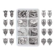 PandaHall Elite About 80 Pcs Tibetan Silver Oval 8 Styles Alloy Pendants for Necklace Jewelry Making