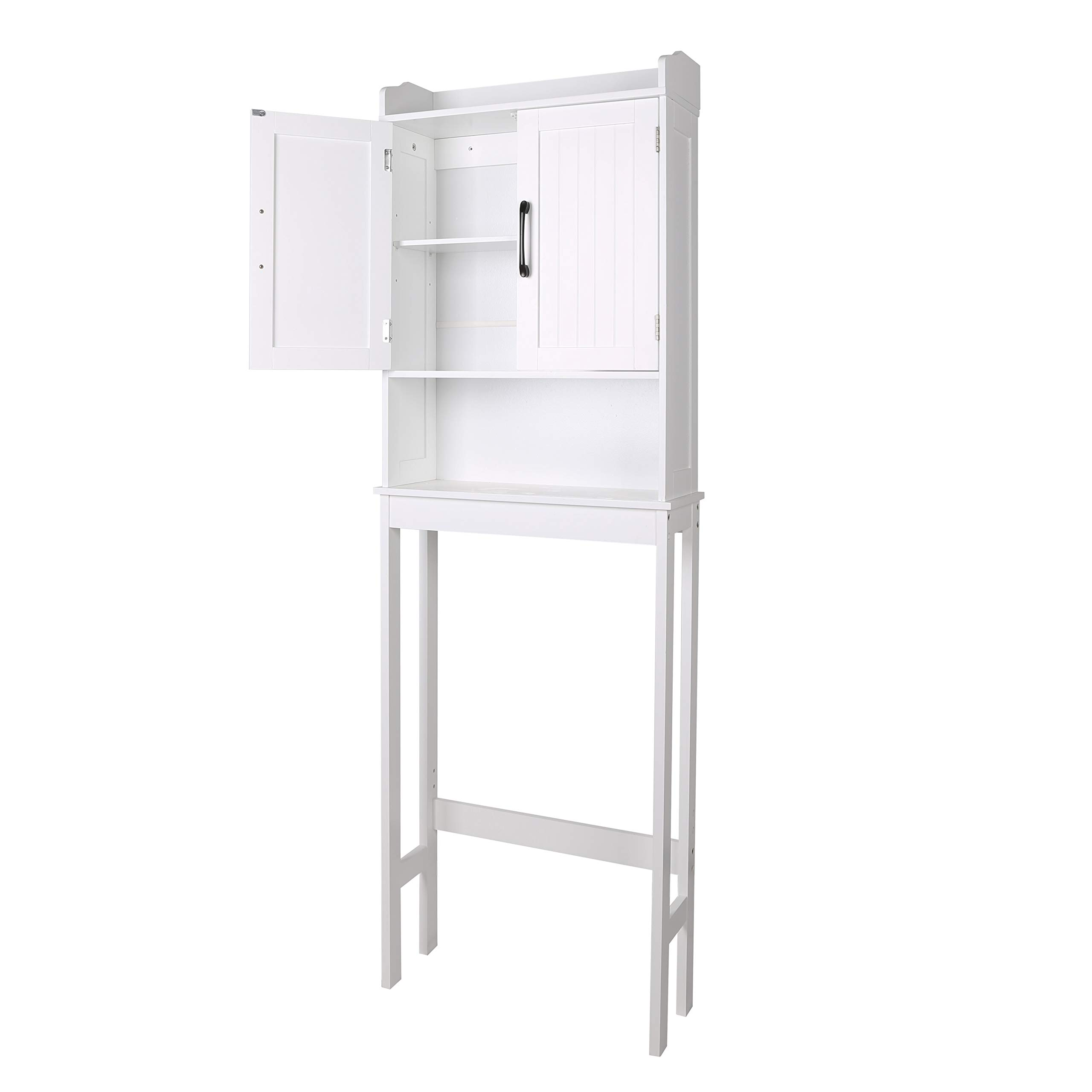 """Bathroom Cabinets Free Standing, Over-The-Toilet Storage Unit, Tall Cupboards with 2 Doors, Modern Style Wooden Floor Cabinet White (W x D x H:21.6"""" x 7.4"""" x 66.9"""")"""