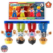 Magnetic Figures Set of 4 –Toddlers Action Toy People, Magnetic Tiles Expansion Pack for Boys and Girls – Engineer, Doctor, Mechanic, Banker Educational STEM Toys Add on Sets for Magnetic Blocks