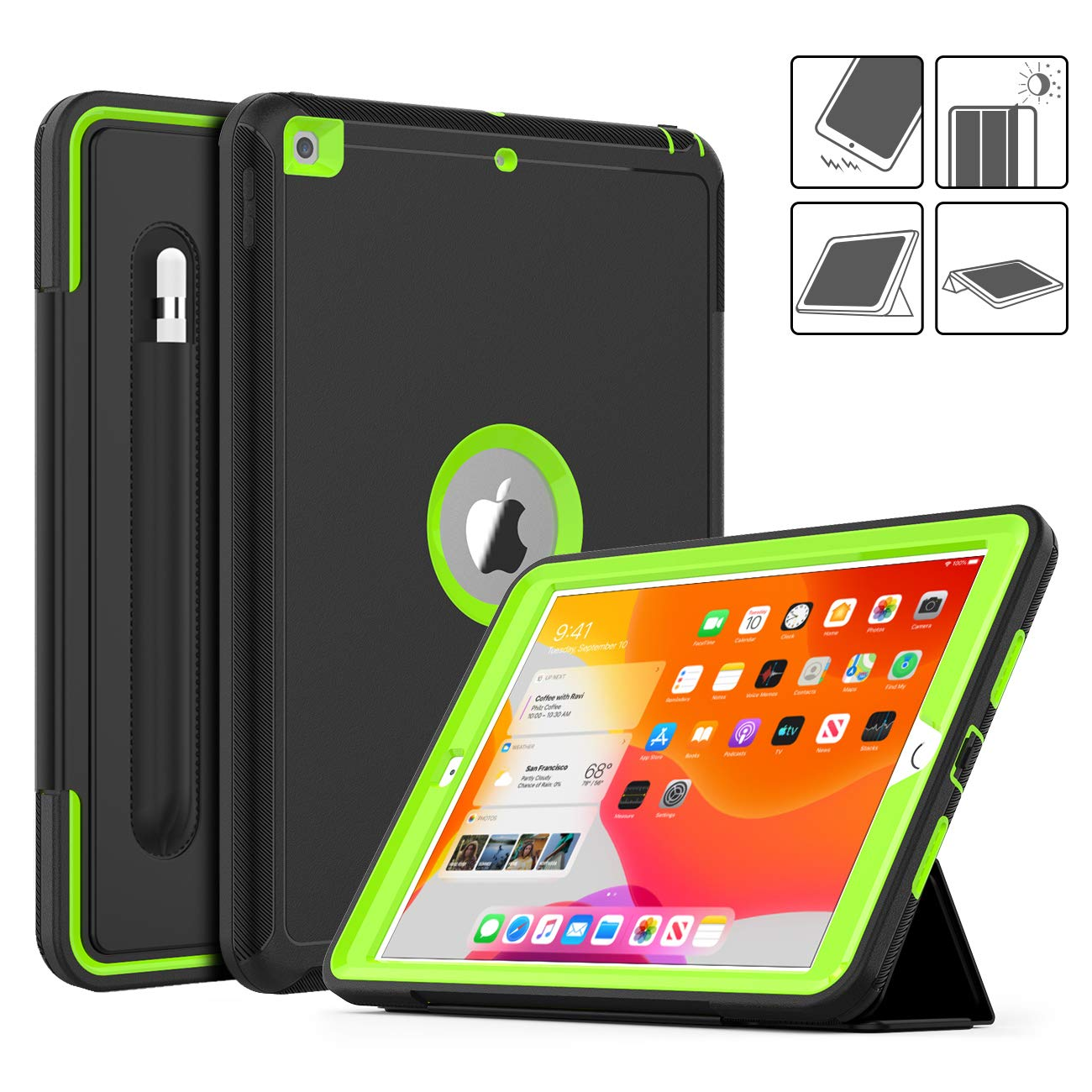 DAORANGE iPad 7th Generation case 10.2 inch 2019, Heavy Shockproof Full Body ProtectiveCase Smart Coverwith Auto Wake/Sleep&Tri-fold Stand[Pencil Holder] for iPad 7th Gen 10.2'' 2019 (Black/Green)