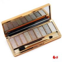 Tmalltide Natural Nudes Professional 9 Colors Diamond Bright Colorful Eye Shadow Super Flash Shimmer Eyeshadow Palette with Brush &Mirror
