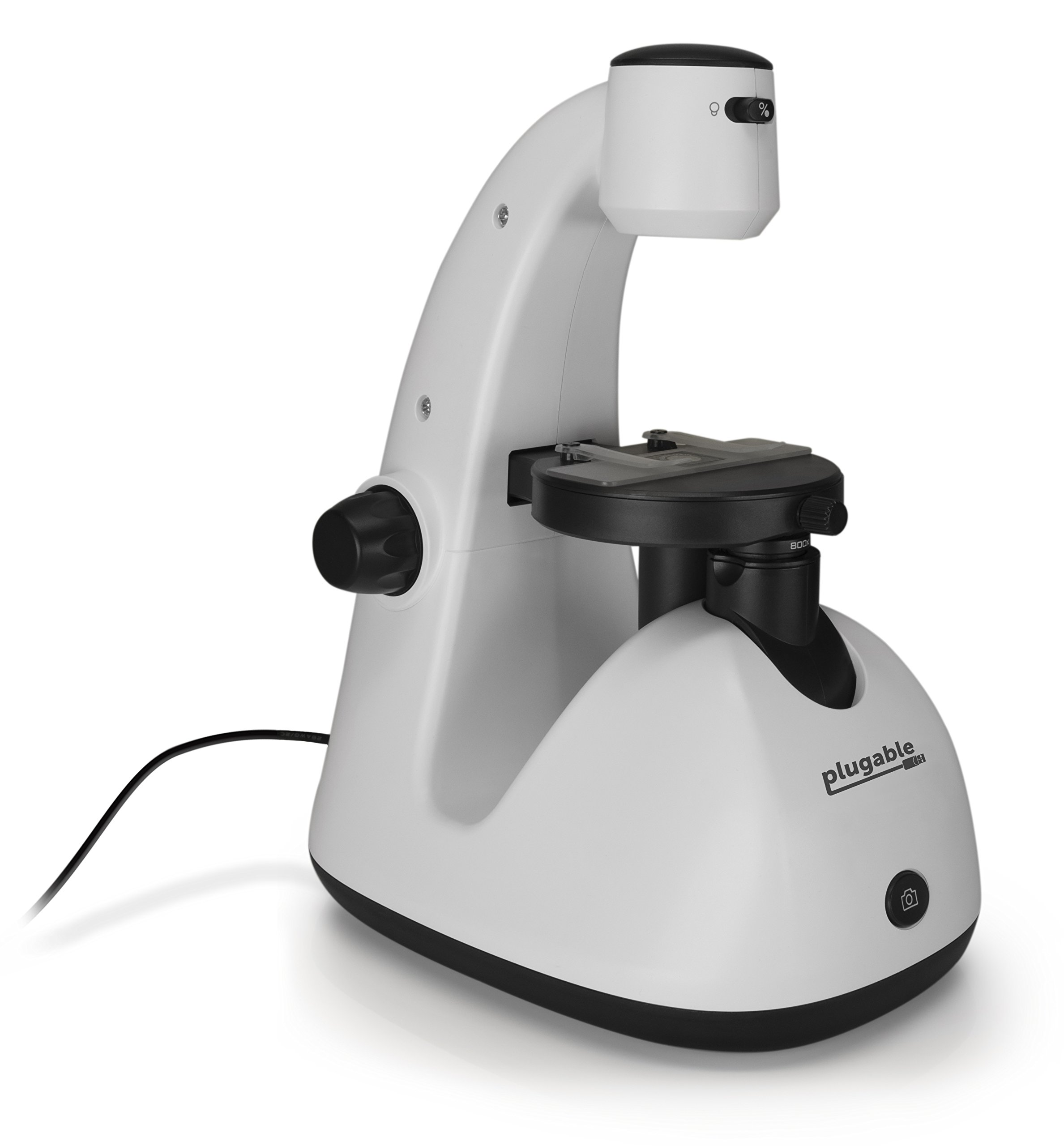 Plugable 800x Inverted Digital Optical USB Microscope for Windows, Mac, Linux, and Android (2MP, True 800x Magnification)