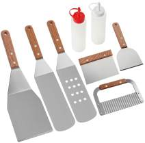 ROMANTICIST 8Pc Professional Griddle Accessories Kit - Heavy Duty Stainless Steel Grill Spatula Set for Grill Griddle Hibachi Flat Top Outdoor Cooking - Great Grill Gift on Birthday Wedding
