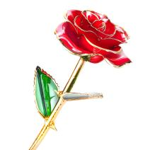 24k Gold Dipped Rose, Flower with Long Stem Rose Dipped in Gold Gift for Women Girls on Birthday, Valentine's Day, Mother's Day, Christmas (Red)