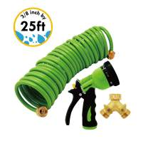 Centurion Non-Kink Coil Hose with 8-Pattern Sprayer Includes Free Brass Faucet Water Splitter, 2-Way Y Shape, has Shut-Off Valve (Green)