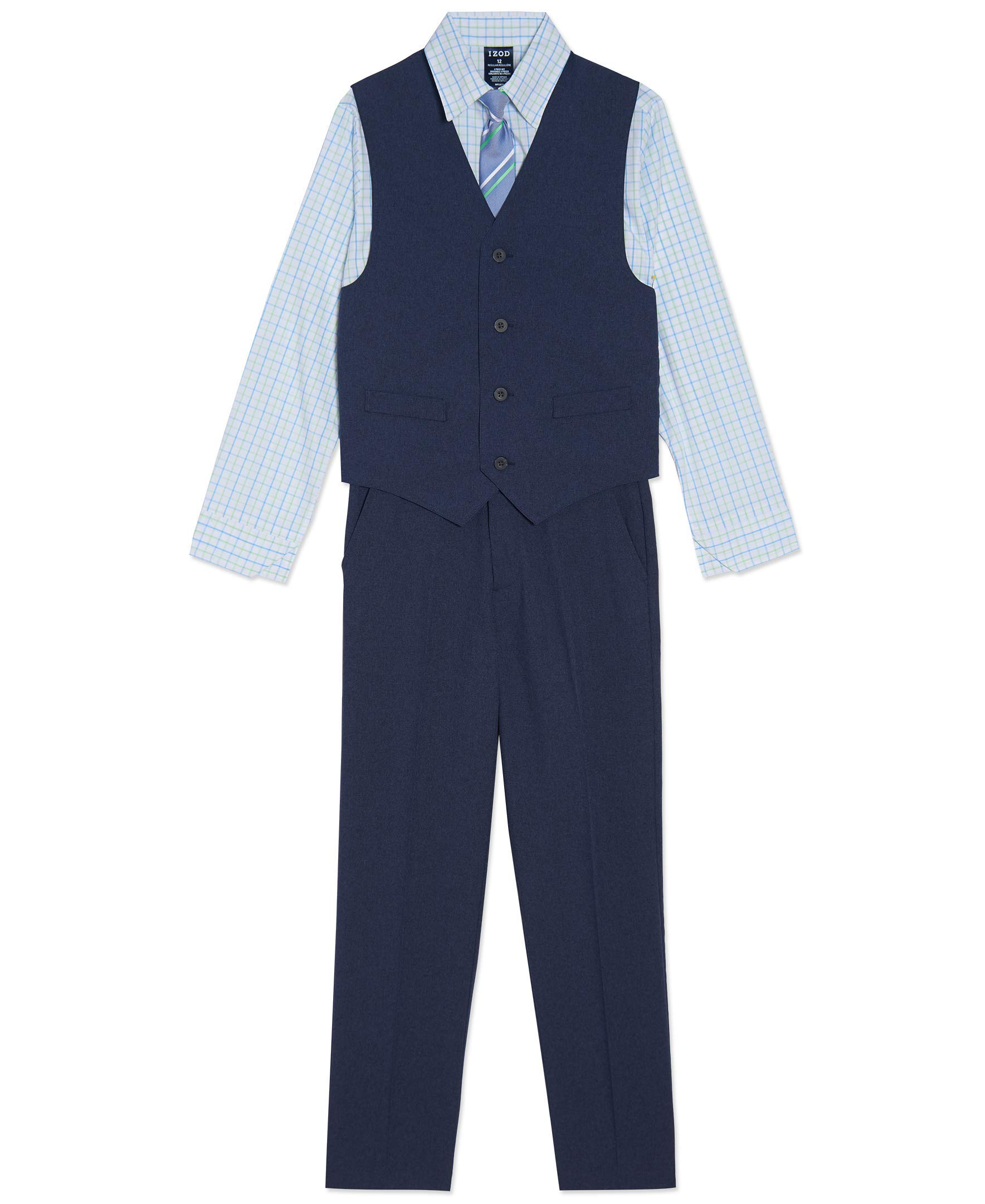 IZOD Boys' 4-Piece Formal Vest Set with Shirt, Vest, Pants, and Tie