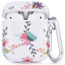 CAGOS Compatible with Airpods Case, 3 in 1 Cute Accessories Protective Hard Case Cover Portable & Shockproof Women Girls Men with Keychain/Strap/Earhooks for Airpods 2/1 Charging Case (Sunflowers)