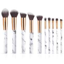 10PCS Makeup Brushes Marble Makeup Brush Set, Powder Cream Foundation Concealer Blush Eyeshadow Eyebrow Lip Make Up Brushes with Blender Sponge and Brush Cleaner (10+2pcs)