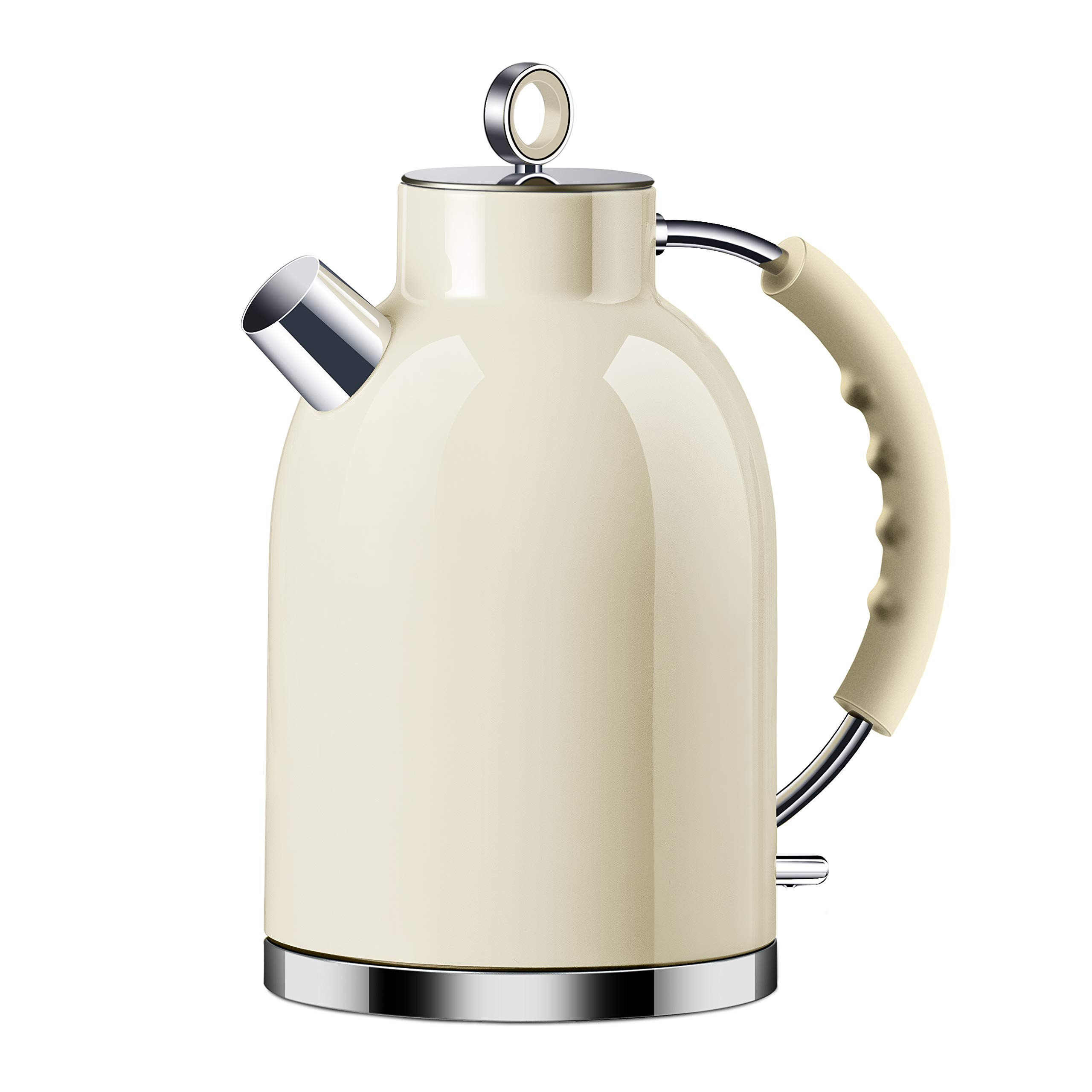 Electric Kettle, ASCOT Stainless Steel Electric Tea Kettle, 1.7QT, 1500W, BPA-Free, Cordless, Automatic Shutoff, Fast Boiling Water Heater - Beige