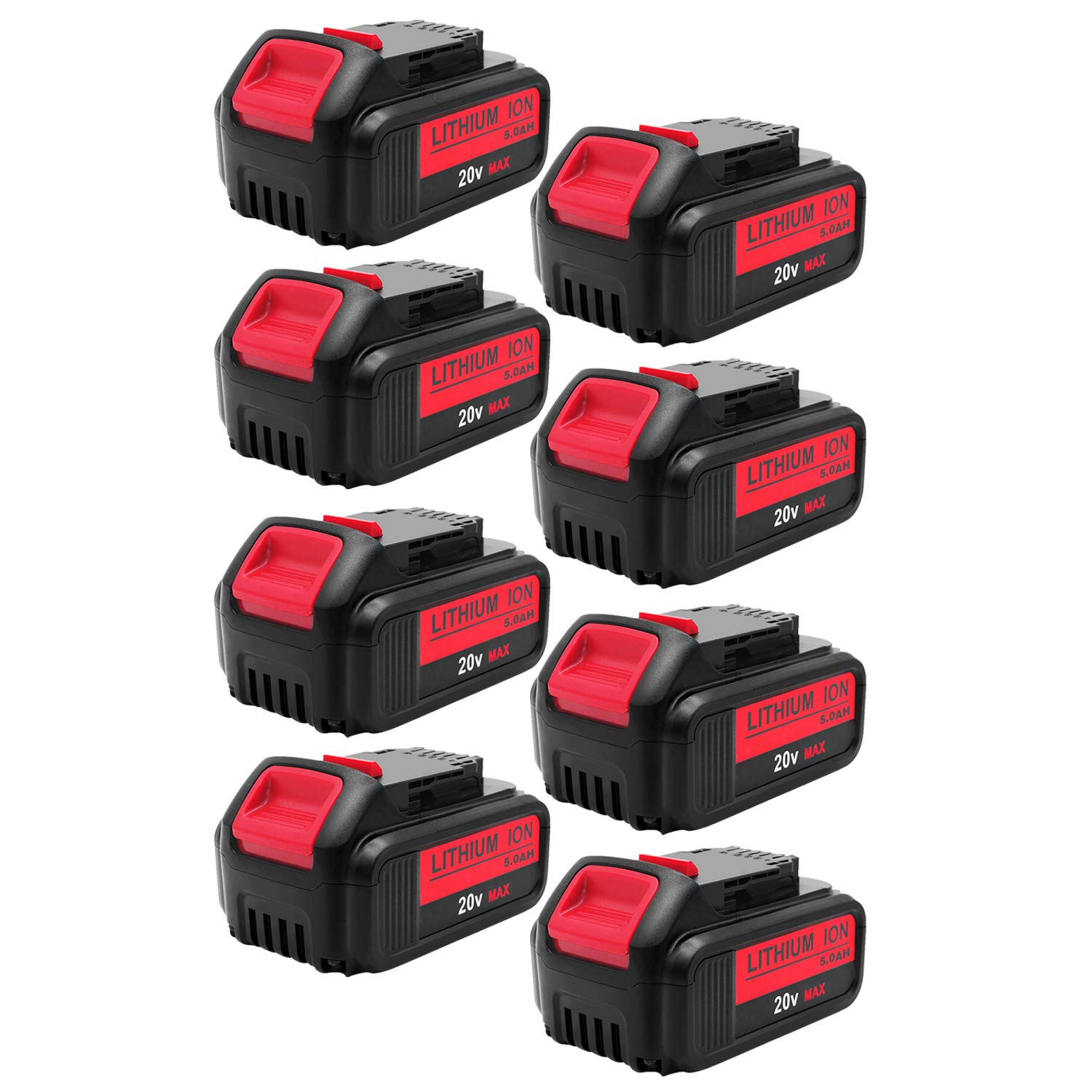 8Pack 5.0Ah 20V DCB200 for Dawelt, Lithium-ion Battery for Dewalt DCB203 DCB204 DCB205 DCB205-2 DCB180 DCD985B DCD771C2 DCS355D1 DCD790B