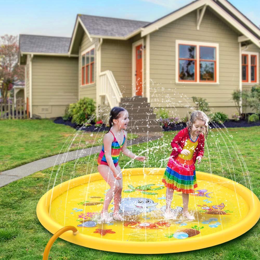 "JISUSU Sprinkler for Kids 68"" Outdoor Water Toys for 2 3 4 5 6 7 8 Year Old Boy Girl Sprinkler Pool for Kids Toddler Baby Sprinkler-Splash-Pad--Water-Toys"