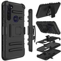 Moto G Stylus Case, Yunerz Holster Heavy Duty Shockproof Full-Body Protective Hybrid Case Cover with Swivel Belt Clip and Kickstand for Moto G Stylus 6.4inch (Black)