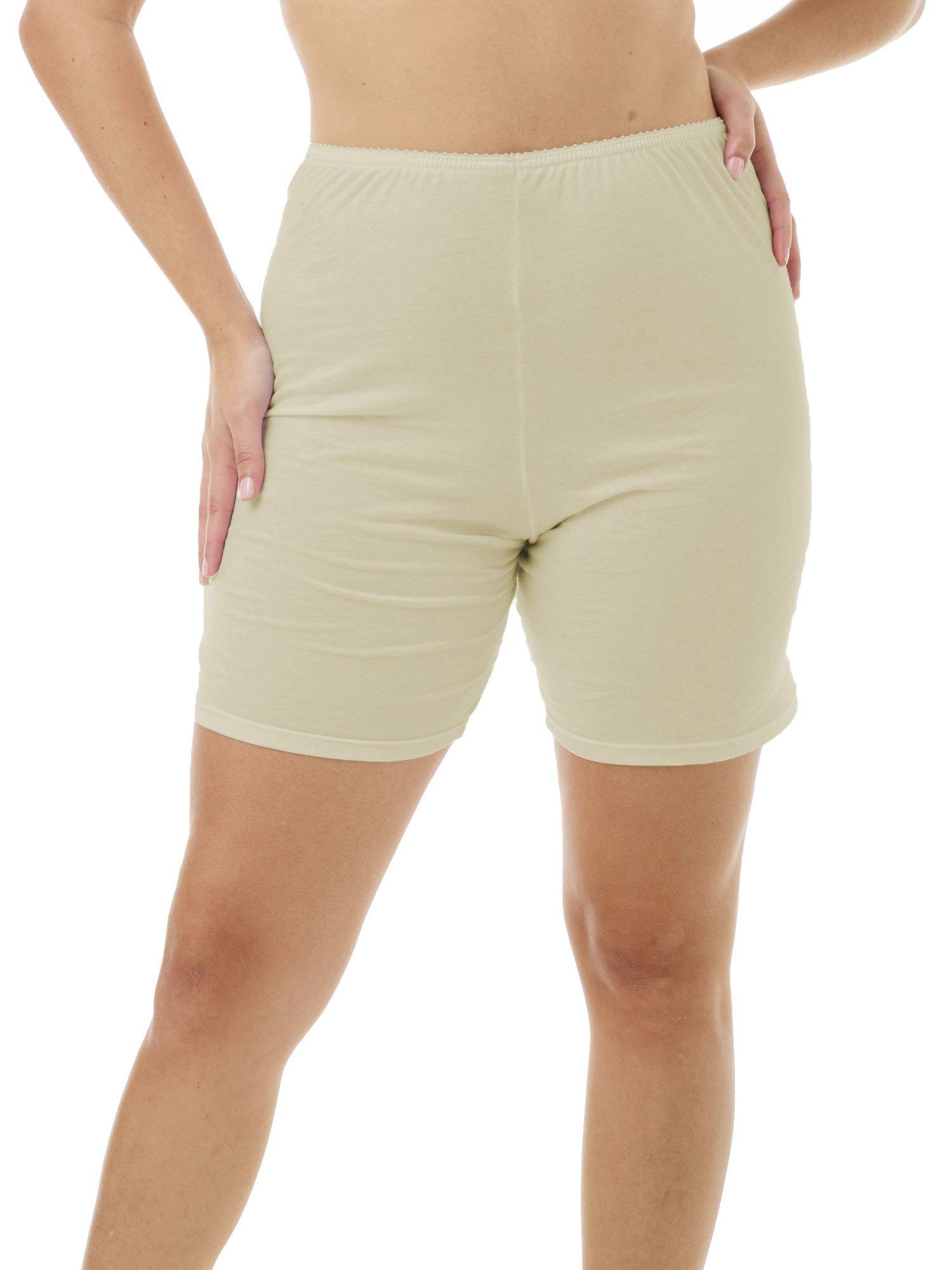 Underworks Womens 100% Cotton Cuff Leg Boy-Leg Brief Bloomers Pettipants 8-inch Inseam 3-Pack