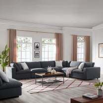 Modway Commix Down-Filled Overstuffed Upholstered 6-Piece Sectional Sofa Set in Gray