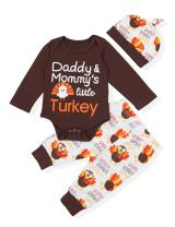 Baby Thanksgiving Outfit Newborn Boy Girl Letter Print Romper Turkey Print Pant with Hat Clothes Set
