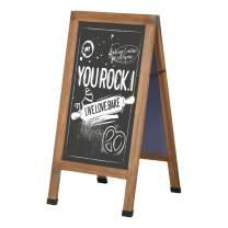 "Vinsetto Magnetic A-Frame Sidewalk Chalkboard Sign 40"" x 20"" Sturdy Freestanding Wooden Sandwich Board with Eraser, Walnut"