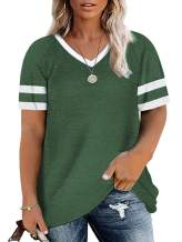 ROSRISS Womens Plus-Size Tops Summer V-Neck Tshirts Color Block Tunic Tee