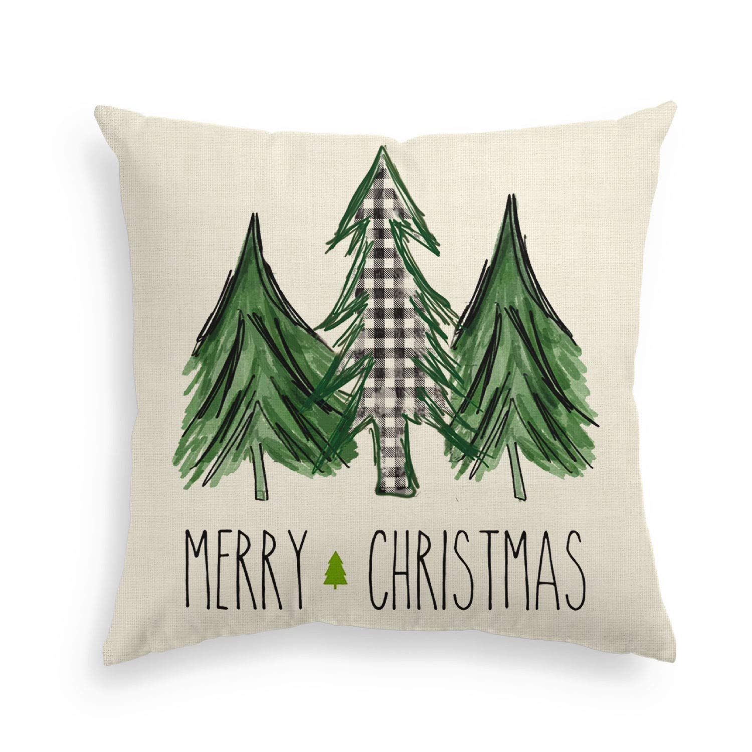 AVOIN Watercolor Christmas Tree Throw Pillow Cover, 18 x 18 Inch Holiday Buffalo Plaid Linen Cushion Case Decoration for Sofa Couch
