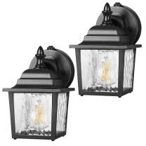 DEWENWILS 2 Pack Dusk to Dawn Wall Light Outdoor, Clear Water Ripple Glass Shade, Exterior Light Fixtures Wall Mount, E26 Socket, Anti-Rust & Waterproof Wall Sconce for Garage, Backyard, UL Listed