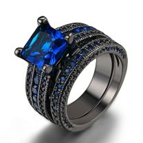 Double Fair Womens Jewelry Black Gold Plated Princess Cut Blue Or Green Cz 2pcs Wedding Engagement Ring Bridal Sets