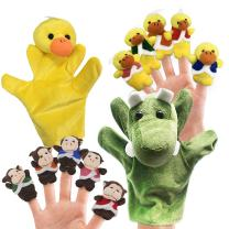 RIY 12pcs Plush Monkeys Ducks Finger Puppets Set for Toddlers with Animals Hand Puppets