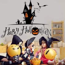 """Halloween Wall Decals DIY Window Wall Decor Pumpkins Spooky Cemetery Witch and Bats Tomb Wall Stickers for Kids Rooms Nursery Party Decorations 22.8'' x 16.5"""""""
