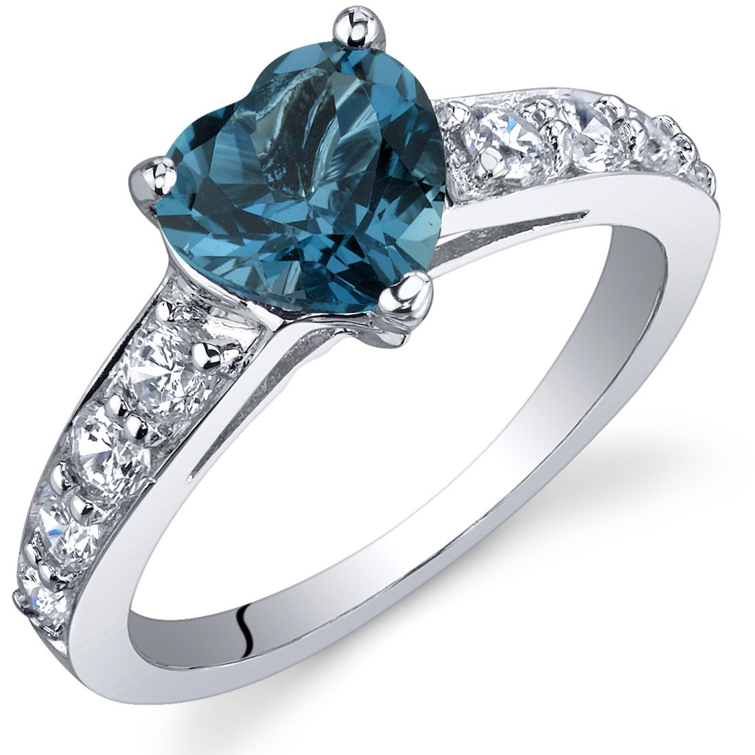 Dazzling Love 1.25 Carats London Blue Topaz Ring in Sterling Silver Rhodium Nickel Finish Sizes 5 to 9