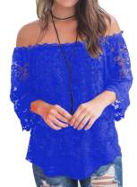 Bloggerlove Women's Lace Off Shoulder Tops Boho Casual Loose Blouse Summer Shirts S-XXL