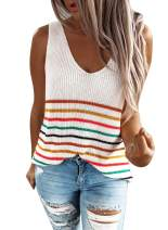 Tiksawon Womens Summer Strappy Tank Tops Loose fit Casual Sleeveless Blouses Sexy Knit Cami Shirts