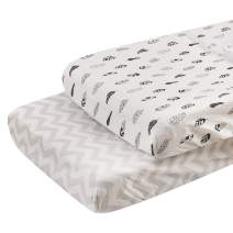 """ALVABABY 2Pack Changing Pad Cover,100% Organic Cotton,Large 32"""" X 16"""",Soft and Light,Baby Cradle Mattress for Boys and Girls 2TCZ01"""