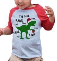 7 ate 9 Apparel Kids Christmas Dinosaur Red Raglan Shirt