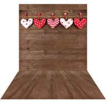 Allenjoy 5x7ft Valentine's Day Backdrop Rustic Brown Wood Floor Sweet Love Heart Background for Mother's Day Wedding Bridal Shower Kids Children Birthday Party Decor Banner Portrait Photo Booth Props