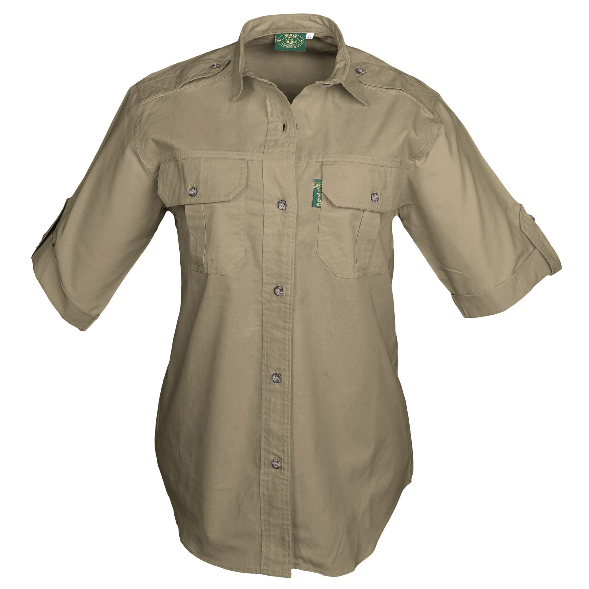 Tag Safari Trail Shirt for Women Short Sleeve, 100% Cotton Shirt for Hunters, Explorers, Photographers and Journalists