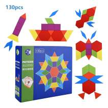 JCREN 130 Pcs Wooden Pattern Blocks Set Geometry Manipulative Tangrams Geometric Shape Puzzle for Kids,Classic Educational Montessori Brain Teasers Gift Toy for Toddlers with 24 Design Cards