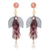 lureme Bohemian Natural Feather Earrings Fashion Leaves Drop Dangle Earrings for Women (er006272)