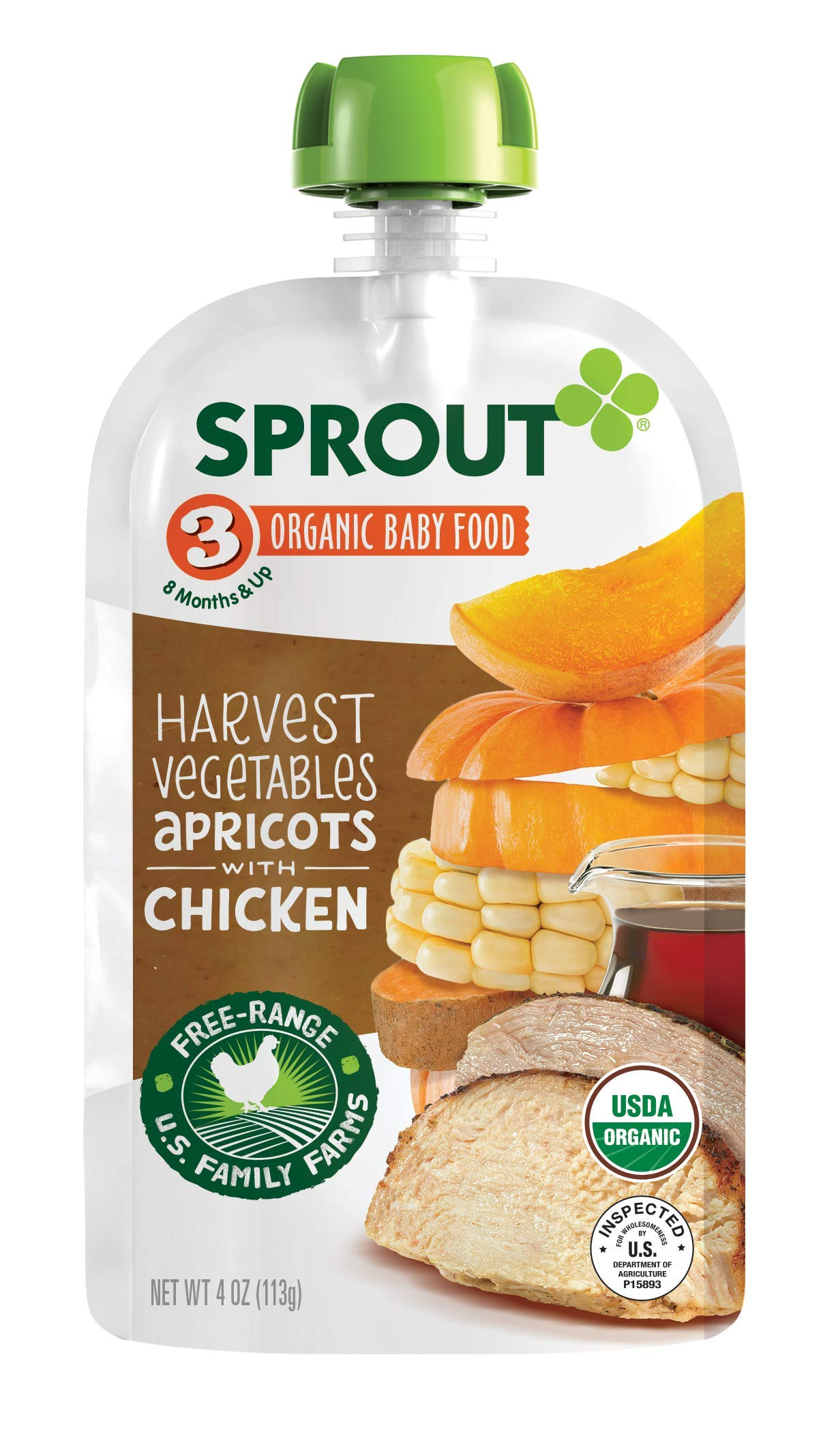 Sprout Organic Stage 3 Baby Food Pouches, Harvest Vegetables Apricots w/ Chicken, 4 Ounce (Pack of 6)