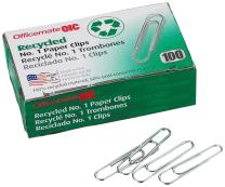 Officemate Recycled No. 1 Paper Clips, Pack of 10 Boxes of 100 Clips Each (99961)