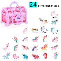 Yozorun Little Girl 24 PCS Unicorn Lovely Ring in Jewelry Box Adjustable No Duplication Girl Pretend Play and Dress Up Rings Unicorn Party Supplies Party Favors