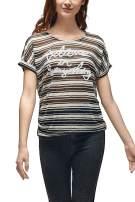 VZULY Women's Short Sleeve Crewneck Top Shirts Loose Casual Striped T-Shirts