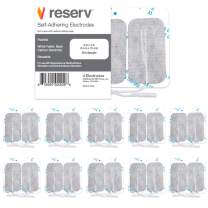 """reserv 40 Pack of 2"""" x 4"""" Premium Re-Usable Self Adhesive Electrode Pads for TENS/EMS Unit, Fabric Backed Pads with Premium Gel (White Cloth and Latex Free) (1 Pack (40 electrodes))"""