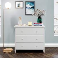 Max & Lily Solid Wood 3-Drawer Dresser, White