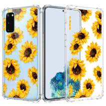 Caka Clear Case for Galaxy S20 Case Flower Clear Case Floral Pattern Design for Girls Women Girly Cute Slim Soft TPU Transparent Shockproof Protective Case for Galaxy S20 6.2 inches -Sunflower