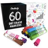 Chalkola Dry Erase Markers, Pack of 60 (with Chisel Tip), 12 Assorted Colors with Low-Odor Ink, Whiteboard Pens are perfect for School, Office, or Home