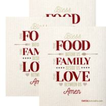 Food Family Love Set of 3 Each Swedish Dishcloths | ECO Friendly Absorbent Cleaning Cloth | Reusable Cleaning Wipes