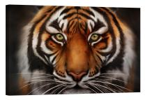 LightFairy Glow in The Dark Canvas Painting - Stretched and Framed Giclee Wall Art Print - Hypnotizing Tiger - Master Bedroom Living Room Decor - 6 Hours Glow - 46 x 32 inch